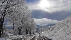 Snowy Landscape with Road Stock Footage