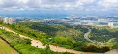 Panoramic view of the bay of Haifa - stock photo