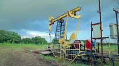 Working oil pumps - stock footage