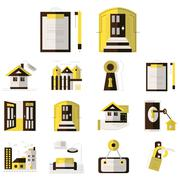 Rental of property flat color icons - stock illustration