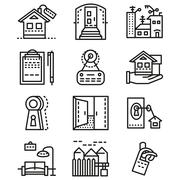 Rental of property line icons - stock illustration