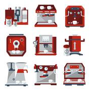 Flat icons for selling coffee machines Stock Illustration