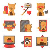 Stylish color icons for selfie lifestyle - stock illustration