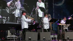 Group Russians play music on stage at White Nights Festival - stock footage