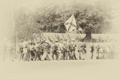 Confederate troops marching in column formation - stock photo