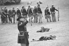 Union bugler playing taps Stock Photos