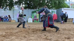 Medieval costume duel at White Nights Festival - stock footage