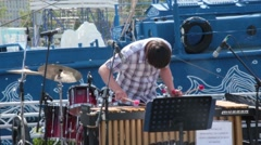 Man plays xylophone at White Nights Festival - stock footage