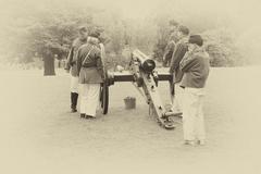 Confederate artillery preparing their guns Stock Photos