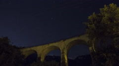 French Riviera Aqueduct at Night Stock Footage