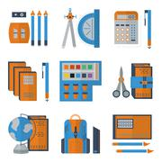 Stationery flat color icons Stock Illustration