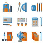 School utensils flat color icons Stock Illustration