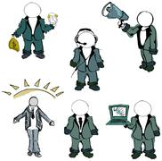 Drawn colored puppet people. Vector illustration Stock Illustration