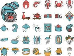 Stock Illustration of Seafood flat color icons vector collection