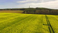Aerial flight back over an Oil Seed rape field, Scottish Borders Stock Footage