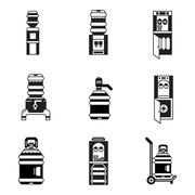 Black vector icons for water cooler Stock Illustration