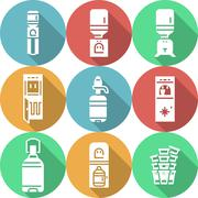 Water cooler flat round vector icons Stock Illustration