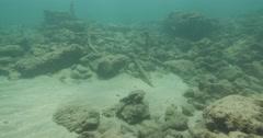 Underwater Caesarea antiquities anchors travel 4K Stock Footage