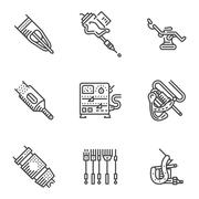 Black line vector icons for tattoo equipment Stock Illustration