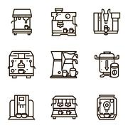 Flat line vector icons for selling coffee machines - stock illustration