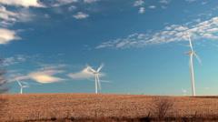 Field of Windmills in Iowa Stock Footage