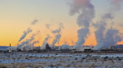 Smoke Stacks Skyline in Wyoming Stock Footage