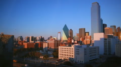 Dallas skyline and trainyard during sunset Stock Footage