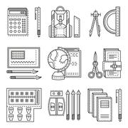 School items flat line vector icons Stock Illustration