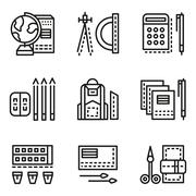 School accessories flat line vector icons - stock illustration