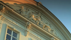 Static shot of the ornate upper portion of a building in Copenhagen, Denmark - stock footage
