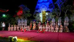 Full troupe posing after show, night Balinese performance stage Stock Footage
