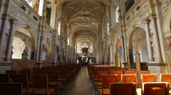 Dolly shot of the interior of a church in Copenhagen, Denmark Stock Footage