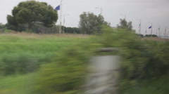 Countryside between Rome and Venice from a train Stock Footage