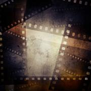 Film negative frames on grunge background - stock illustration
