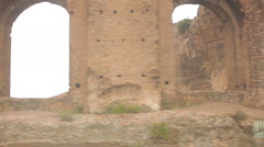 Passing shot of Italian ruins Stock Footage