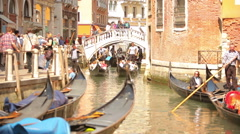 Busy canal and walkway Stock Footage
