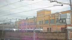 Passing through Italian town from train. Stock Footage