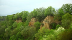 Italian landscape with trees and cliffs. Stock Footage