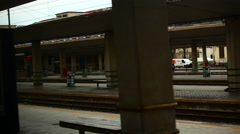 Passing an Italian train station Stock Footage