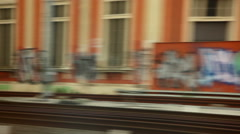 Graffiti covered walls in Italy. - stock footage