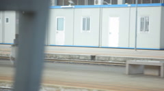 Shot of construction near train platform in Italy. Stock Footage