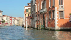 Shot from water taxi of canal in Venice. Stock Footage