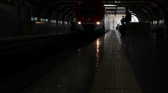 Slow motion shot of an arriving train in Italy Stock Footage