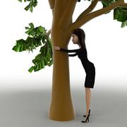 Stock Illustration of 3d woman hiding behind truck of tree concept