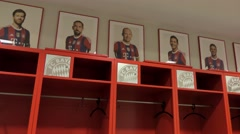 Dressing room of the home team in the Allianz Arena stadium in Munich, Germany - stock footage