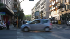 Traffic travels through an intersection - stock footage