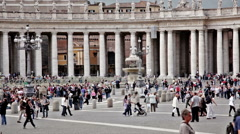 Tourists in Piazza San Pietro Stock Footage