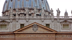 Statues and Latin engravings on basilica facade Stock Footage