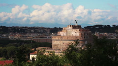 Castel Sant'Angelo across the river Tiber Stock Footage