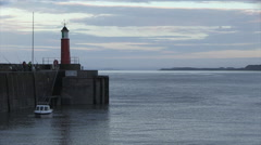 Watchet Lighthouse and Harbour in Somerset Stock Footage